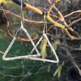 Chilli Designs Big Hammered Triangle Drop Earrings 2