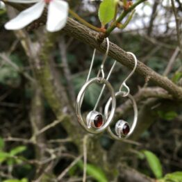 Chilli Designs garnet circles earrings