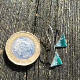 Chilli Designs green and white silver enamel triangle drop earrings