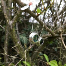 Chilli designs paua shell circle drop earrings