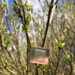 Chilli Designs rectangle leaf pendant