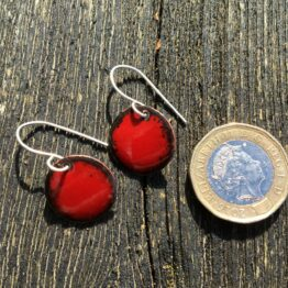Chilli Designs red black enamelled earrings