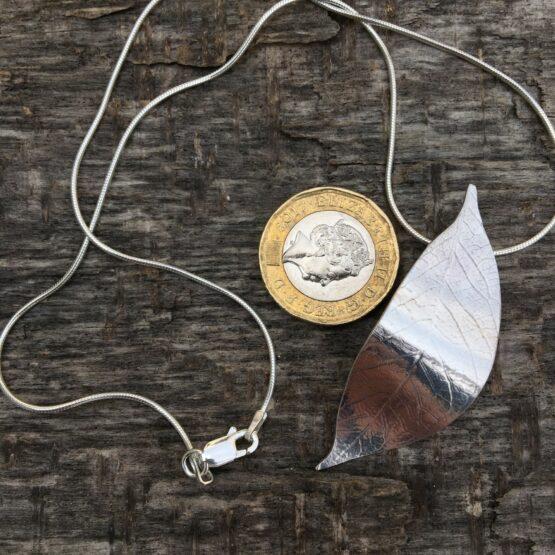 Chilli Designs curved leaf pendant