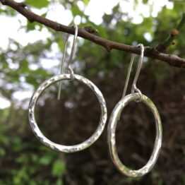 Chilli Designs large circle hammered drop earrings