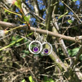 Chilli Designs textured amethyst circle drop earrings